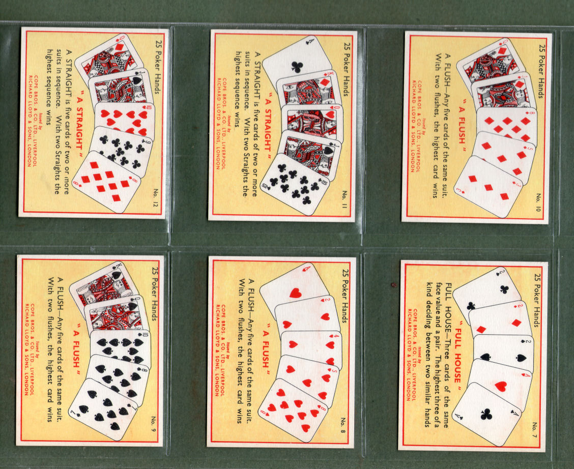 Tobacco Cards Cigarette Cards Set The Game Of Poker 1936